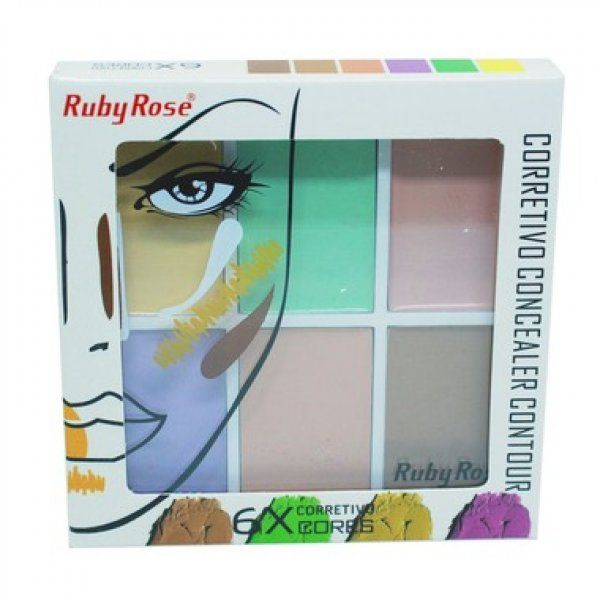 Ruby Rose Corretivo Concealer Contour 6 Cores 11.4g HB-8089 - Color