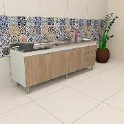 Balcão Gabinete Cozinha Para Pia 1,80m San Marino Carvalho
