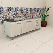 Balcão Gabinete Cozinha Para Pia 1,80m San Marino Macadâmia