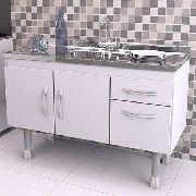 Balcão Gabinete Cozinha Com Pia Inox 1,5 Branco