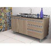 Balcão Gabinete de Cozinha Com Pia Inox 1,20m Carvalho MDF