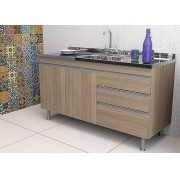 Balcão de Cozinha em MDF com Pia Inox Veneza 1,20m Carvalho