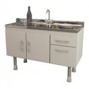 Balcão de Cozinha em MDF com Pia Inox SLIM 1,20m Branco