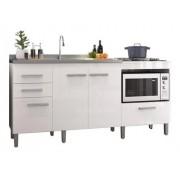 Balcão de Cozinha em MDF para Pia, Forno e Cooktop 1,80m Branco