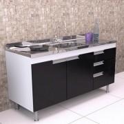 Balcão de Cozinha em MDF para Pia 1,50m San Marino Preto