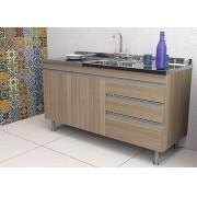 Balcão de Cozinha em MDF para Pia 1,50m Veneza Carvalho