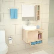 Gabinete Para Banheiro em MDF Kit Completo 60CM Macadâmia