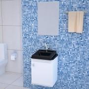 Gabinete para Banheiro em MDP Completo ROMA 40cm Preto e Branco