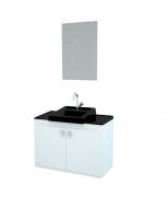 Gabinete para Banheiro completo Espelho ROMA 070cm PRETO