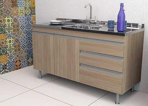 Balcão de Cozinha em MDF para Pia 1,20m Veneza Carvalho  - Loja de Móveis e Artigos para Decoração | TudoParaDecorar.com.br