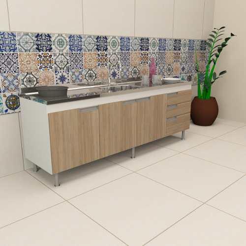 Balcão Gabinete Cozinha Para Pia 2m San Marino Carvalho  - Loja de Móveis e Artigos para Decoração | TudoParaDecorar.com.br