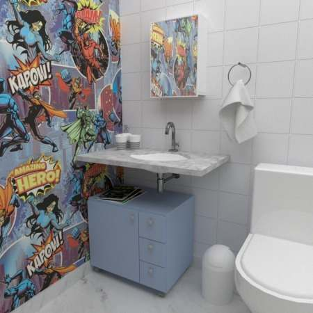 Móvel gaveteiro com Rodinhas Encaixe para Coluna de Banheiro Azul  - Loja de Móveis e Artigos para Decoração | TudoParaDecorar.com.br