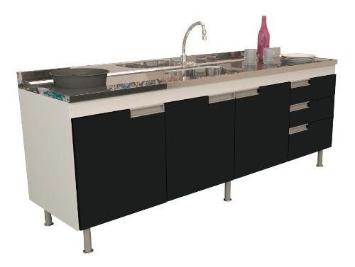 Balcão Gabinete Cozinha Preto para Pia de 1,80m San Marino  - Loja de Móveis e Artigos para Decoração | TudoParaDecorar.com.br