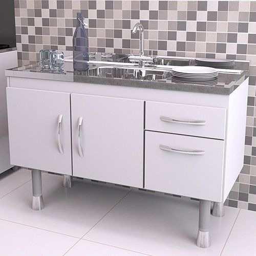 Balcão Gabinete Cozinha Com Pia Inox 1,5 Branco  - Loja de Móveis e Artigos para Decoração | TudoParaDecorar.com.br