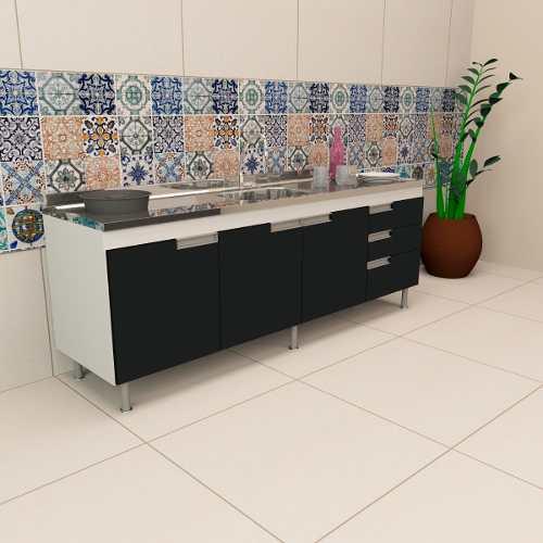 Gabinete Balcão  De Cozinha Preto Com Pia Inox de 2m  - Loja de Móveis e Artigos para Decoração | TudoParaDecorar.com.br