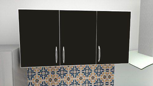 Armário Suspenso Para Cozinha Primolar 1,20m Preto  - Loja de Móveis e Artigos para Decoração | TudoParaDecorar.com.br