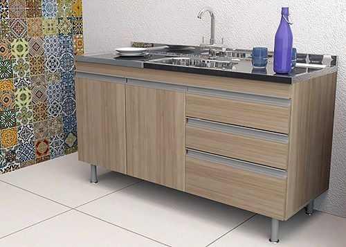 Balcão Gabinete de Cozinha Com Pia Inox 1,20m Carvalho MDF  - Loja de Móveis e Artigos para Decoração | TudoParaDecorar.com.br