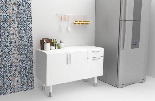 Balcão Com Tampo Para Cozinha Primolar 1,20m Branco  - Loja de Móveis e Artigos para Decoração | TudoParaDecorar.com.br