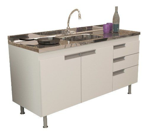 Balcão Gabinete Para Cozinha San Marino Com Pia 1,50m Branco em Mdf  - Loja de Móveis e Artigos para Decoração | TudoParaDecorar.com.br
