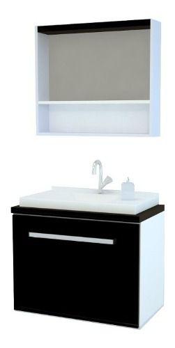 Gabinete Banheiro Kit Completo 70cm Preto  - Loja de Móveis e Artigos para Decoração | TudoParaDecorar.com.br
