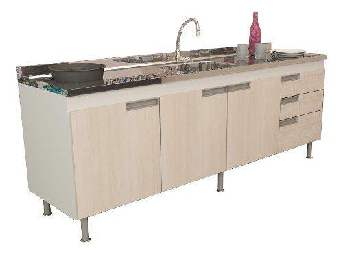 Gabinete de Cozinha Para Pia 2m San Marino Madeirado Claro  - Loja de Móveis e Artigos para Decoração | TudoParaDecorar.com.br