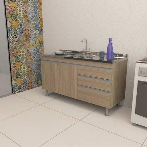 Balcão de Cozinha em MDF para Pia 2,00m Veneza Carvalho  - Loja de Móveis e Artigos para Decoração | TudoParaDecorar.com.br