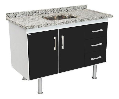 Balcão de Cozinha em MDF para Pia 1,20m Preto Total  - Loja de Móveis e Artigos para Decoração | TudoParaDecorar.com.br