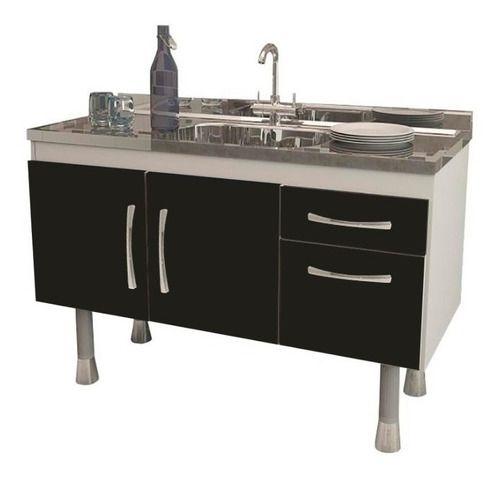 Balcão de Cozinha em MDF com Pia Inox 1,50m Preto Total  - Loja de Móveis e Artigos para Decoração | TudoParaDecorar.com.br