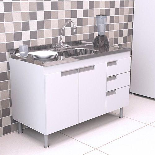 Gabinete Balcão para Pia de Cozinha 1,20m San Marino BRANCO  - Loja de Móveis e Artigos para Decoração | TudoParaDecorar.com.br