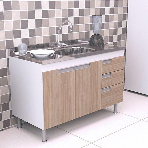 Gabinete Balcão para Pia de Cozinha 1,20m San Marino CARVALHO  - Loja de Móveis e Artigos para Decoração | TudoParaDecorar.com.br