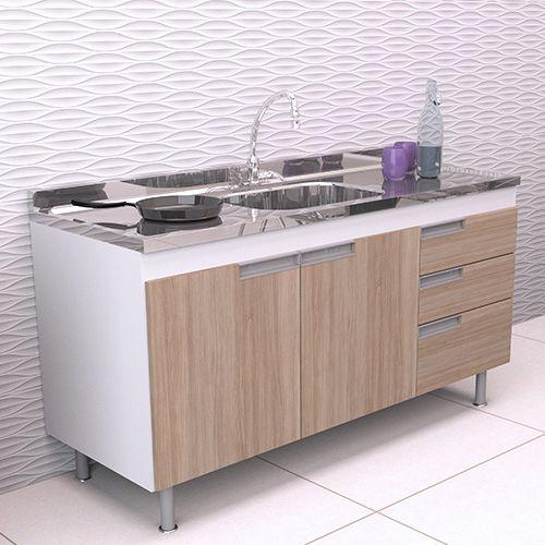 Balcão de Cozinha em MDF para Pia 1,50m San Marino Carvalho  - Loja de Móveis e Artigos para Decoração | TudoParaDecorar.com.br