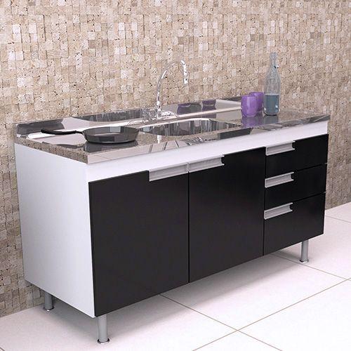 Balcão de Cozinha em MDF para Pia 1,50m San Marino Preto  - Loja de Móveis e Artigos para Decoração | TudoParaDecorar.com.br