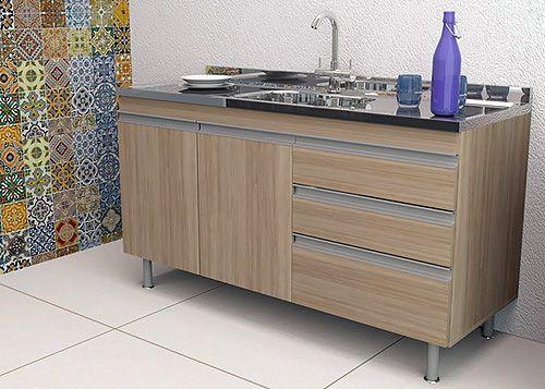 Balcão de Cozinha em MDF para Pia 1,50m Veneza Carvalho  - Loja de Móveis e Artigos para Decoração | TudoParaDecorar.com.br