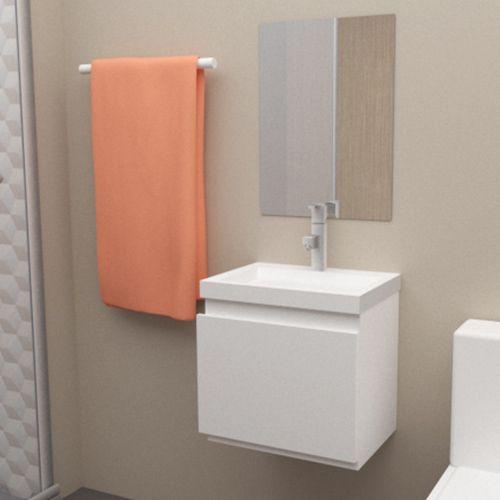 Gabinete para Banheiro em MDF Completo SMART 47CM Branco  - Loja de Móveis e Artigos para Decoração | TudoParaDecorar.com.br