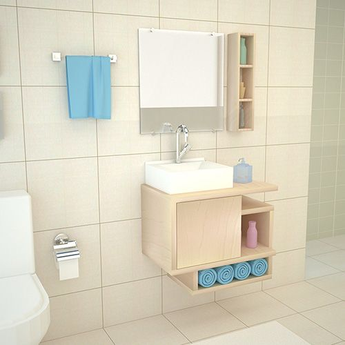 Móvel Gabinete Para Banheiro Kit Completo 60CM Macadâmia  - Loja de Móveis e Artigos para Decoração | TudoParaDecorar.com.br