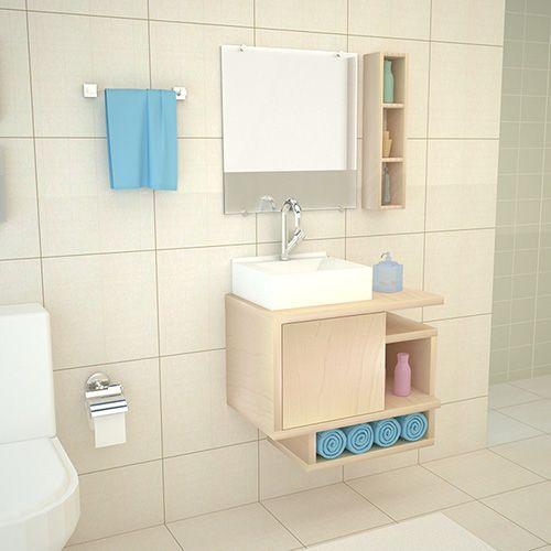 Gabinete Para Banheiro em MDF Kit Completo 60CM Macadâmia  - Loja de Móveis e Artigos para Decoração   TudoParaDecorar.com.br