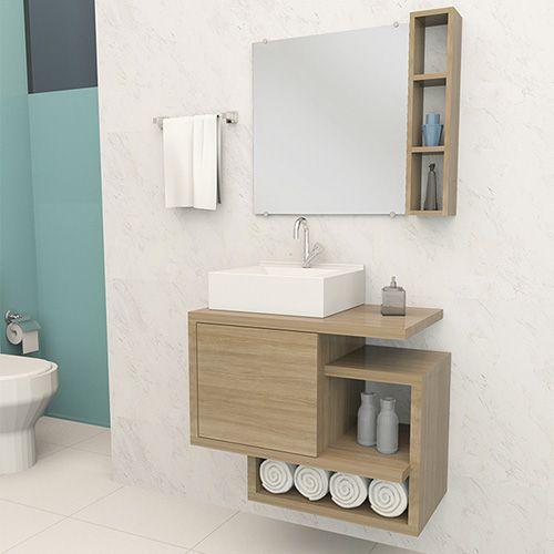 Móvel Gabinete Para Banheiro Kit Completo 60CM Carvalho  - Loja de Móveis e Artigos para Decoração | TudoParaDecorar.com.br
