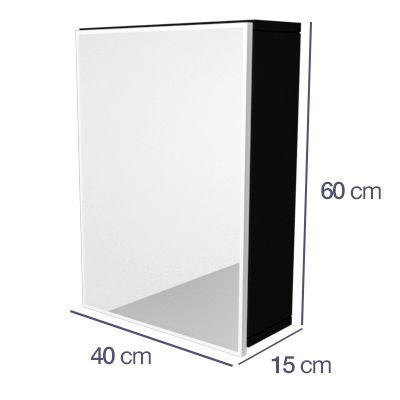 Armário Espelheira Banheiro 1 Porta MODENA 40CM PRETO  - Loja de Móveis e Artigos para Decoração | TudoParaDecorar.com.br