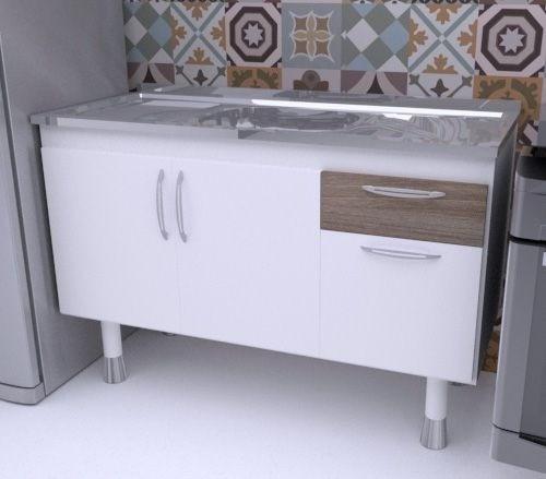Balcão de Cozinha em MDF para Pia 1,20m SLIM Carvalho  - Loja de Móveis e Artigos para Decoração   TudoParaDecorar.com.br