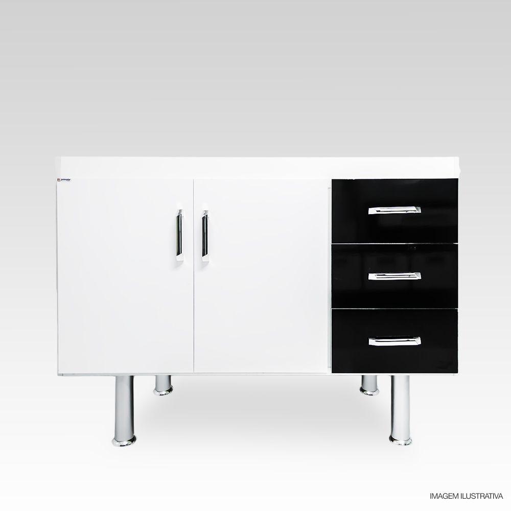 Gabinete Com Pia Inox De Cozinha 1,00m Preto  - Loja de Móveis e Artigos para Decoração | TudoParaDecorar.com.br