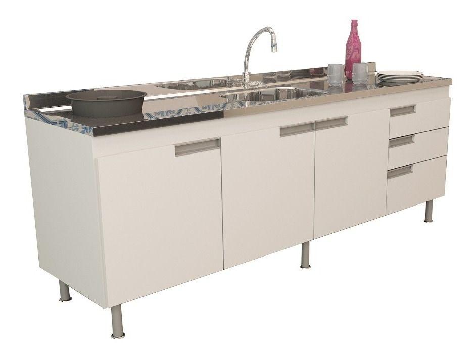 Gabinete De Cozinha Branco para Pia de 2 mts San Marino  - Loja de Móveis e Artigos para Decoração | TudoParaDecorar.com.br