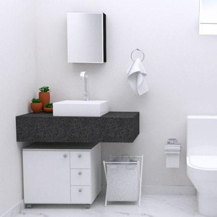 Gabinete para Banheiro 3 Gavetas 1 porta com Rodízios  - Loja de Móveis e Artigos para Decoração | TudoParaDecorar.com.br