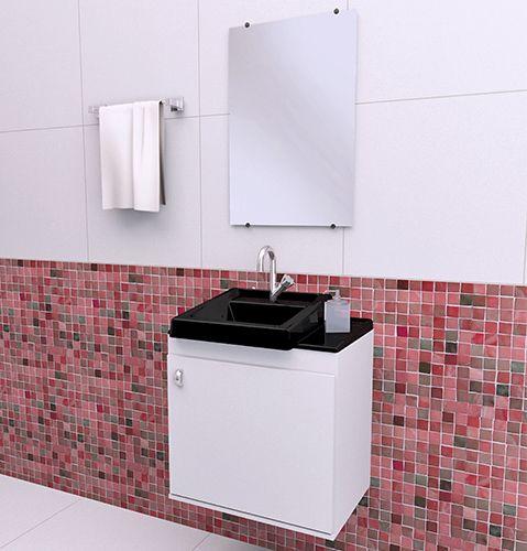 Gabinete para Banheiro completo ROMA 050cm PRETO  - Loja de Móveis e Artigos para Decoração | TudoParaDecorar.com.br