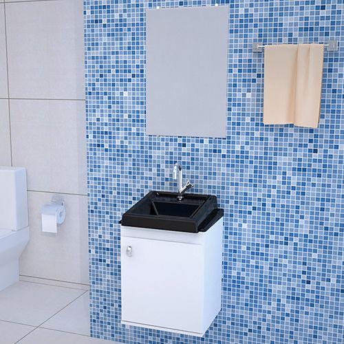 Gabinete para Banheiro com Lavatório e Espelho ROMA 40x52x34CM PRETO  - Loja de Móveis e Artigos para Decoração | TudoParaDecorar.com.br