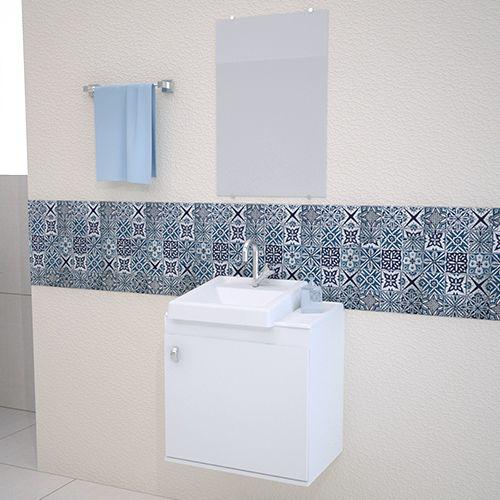 Gabinete para Banheiro completo ROMA 50CM BRANCO  - Loja de Móveis e Artigos para Decoração   TudoParaDecorar.com.br