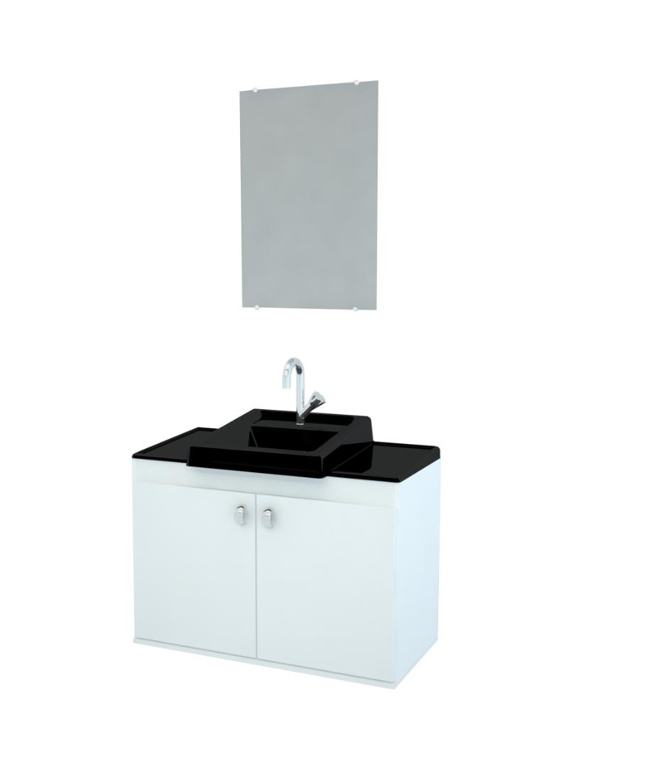 Gabinete para Banheiro completo Espelho ROMA 070cm PRETO  - Loja de Móveis e Artigos para Decoração | TudoParaDecorar.com.br