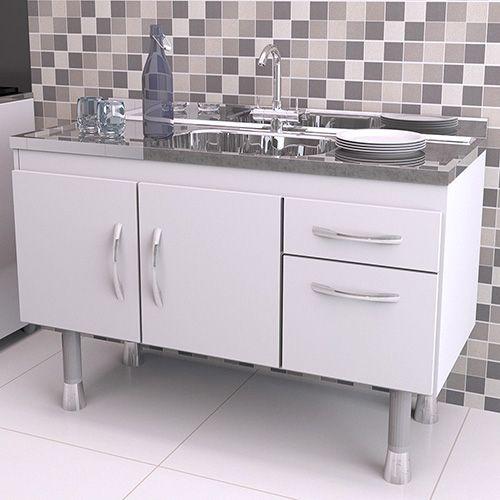 Gabinete Balcão para Pia de Cozinha 1,20m SLIM  - Loja de Móveis e Artigos para Decoração | TudoParaDecorar.com.br