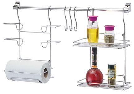 Kit Organizador Para Cozinha Com Suporte Para Rolos e Prateleira  - Loja de Móveis e Artigos para Decoração | TudoParaDecorar.com.br