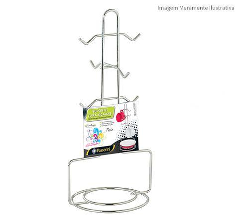 Porta Xícaras Vertical Cromado  - Loja de Móveis e Artigos para Decoração | TudoParaDecorar.com.br