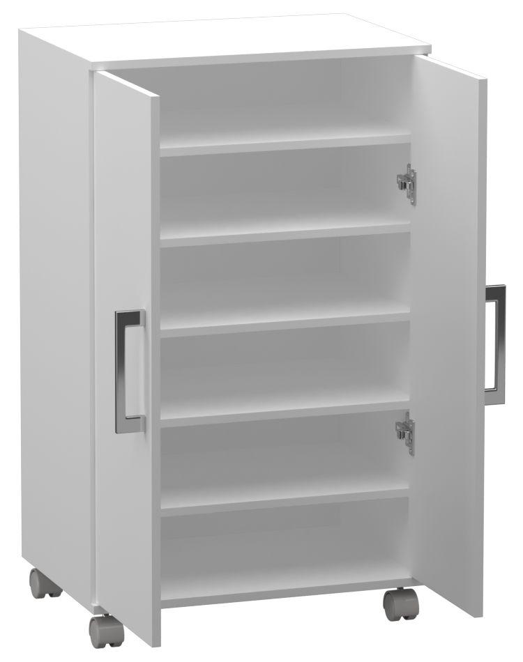 Armário Multiuso 2 Portas Com Rodízios Prateleiras  - Loja de Móveis e Artigos para Decoração | TudoParaDecorar.com.br